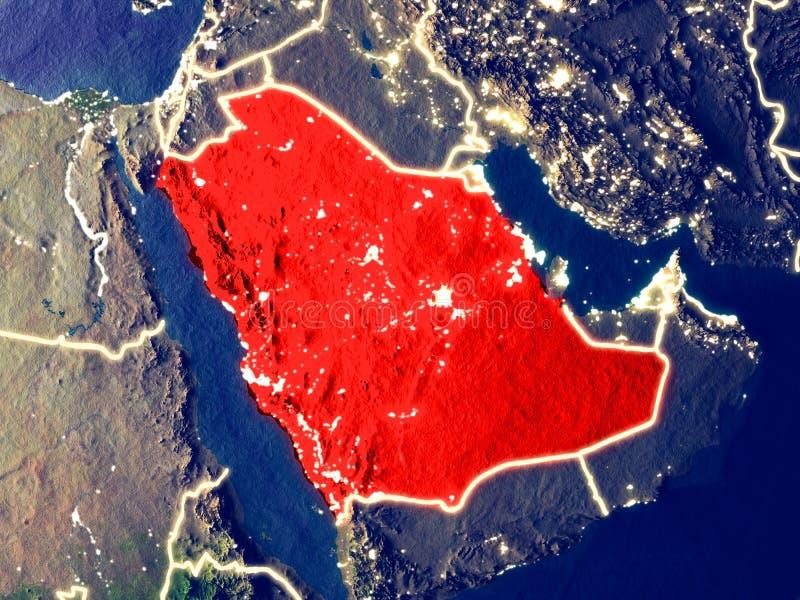 Saudiarabien på jord på natten royaltyfri bild