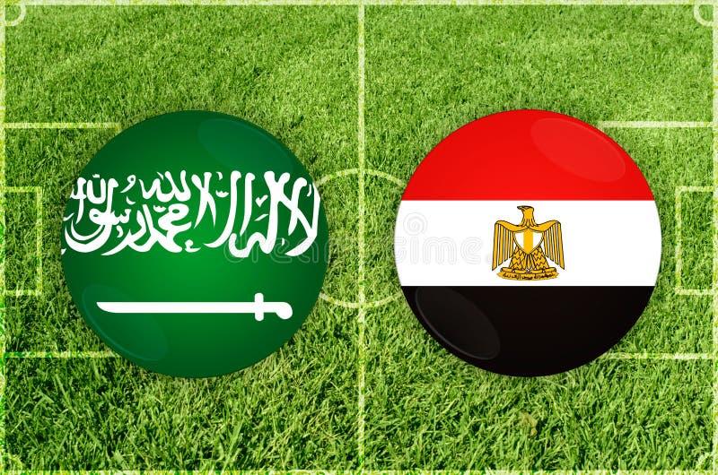 Saudiarabien vs den Egypten fotbollsmatchen royaltyfri illustrationer