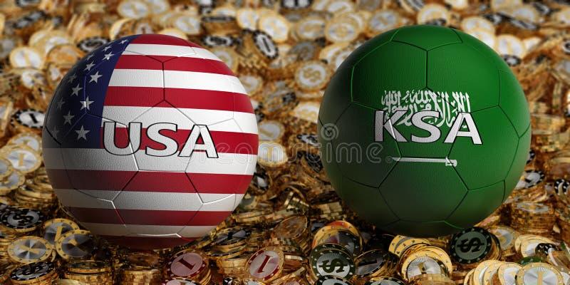 Saudiarabien vs USA fotbollsmatch - fotbollbollar i Saudiarabien och USA medborgarefärger på en säng av guld- dollarmynt royaltyfri foto