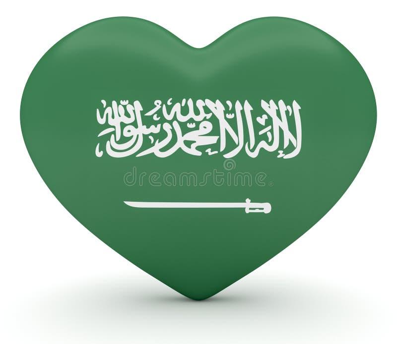 Saudiarabisk flaggahjärta, illustration 3d stock illustrationer