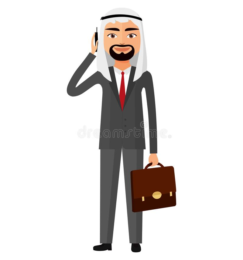 Saudier - arabisk affärsman som talar vektorn Il för telefonlägenhettecknad film stock illustrationer