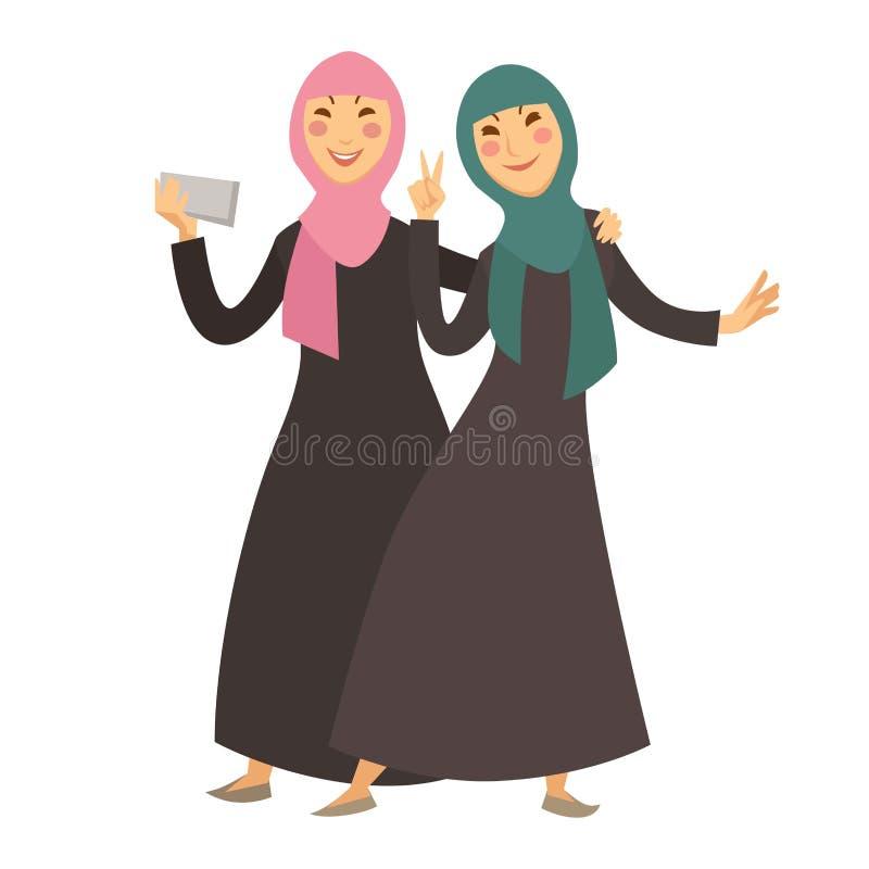 Saudier - arabiska muslimska kvinnor med tecken för tecknad film för smartphoneselfievektor royaltyfri illustrationer