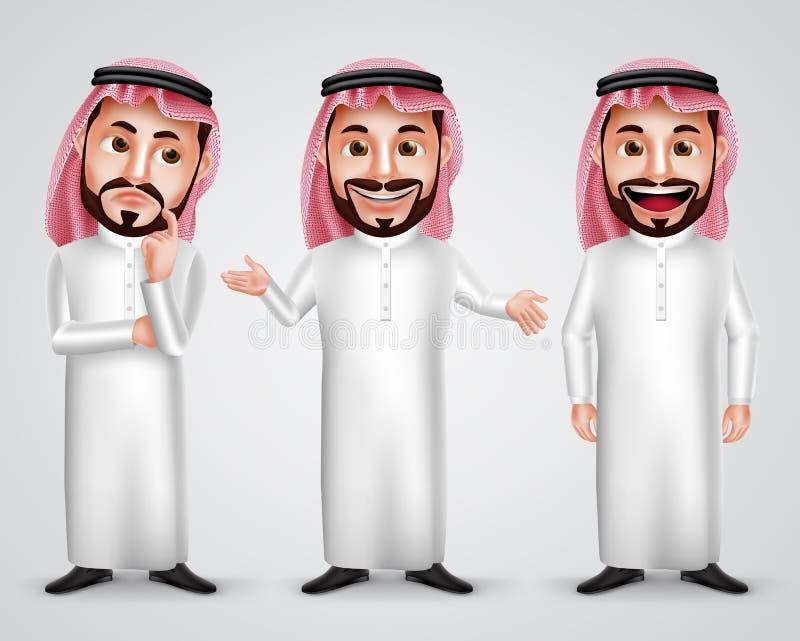 Saudier - arabiskt manvektortecken - fastställd bärande thobe och gutra vektor illustrationer