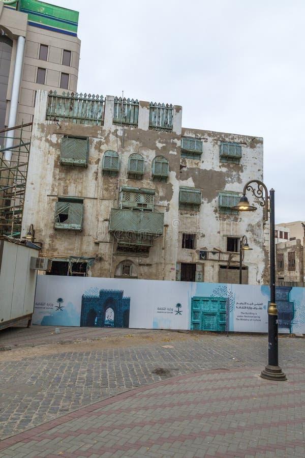 Saudyjczyka Jeddah Luty 16 2019 Stary miasto w Jeddah Starym mieście w Jeddah Arabia Saudyjska znać jako Dziejowy Jeddah Uliczny  zdjęcie stock
