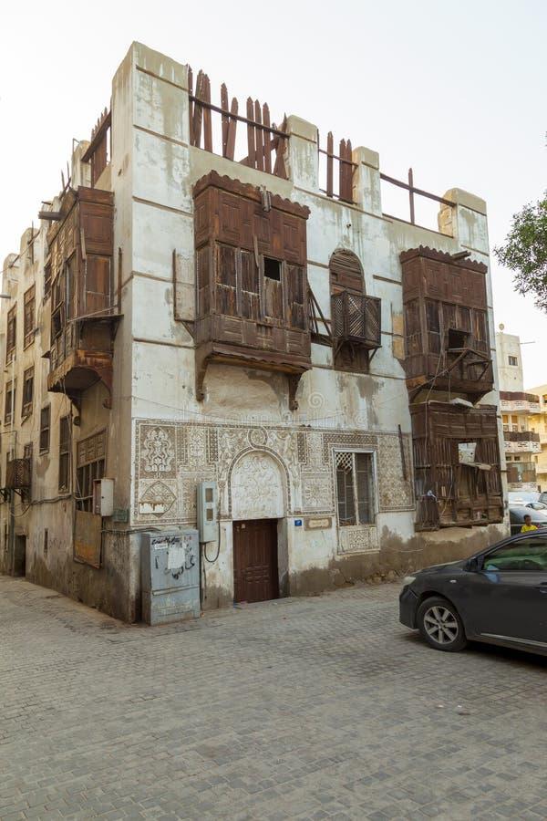 Saudyjczyka Jeddah Luty 1 2019 Stary miasto w Jeddah Starym mieście w Jeddah Arabia Saudyjska znać jako Dziejowy Jeddah Uliczny w fotografia royalty free