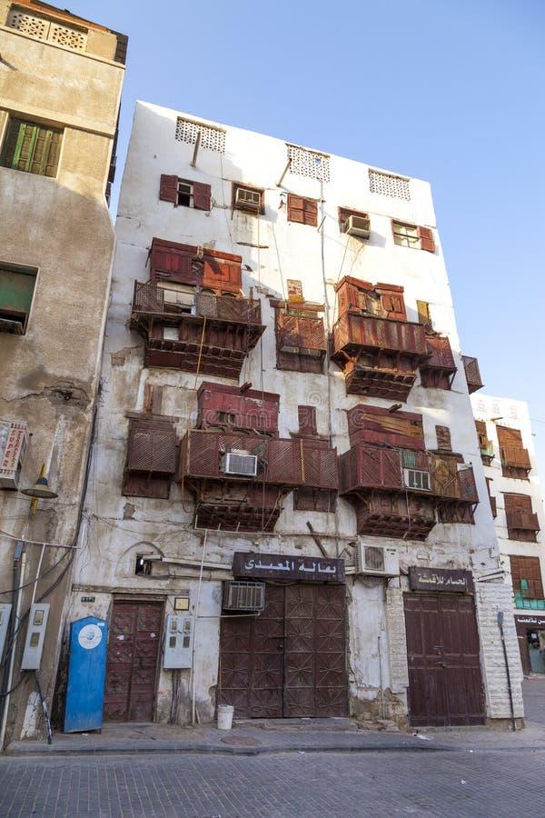 Saudyjczyka Jeddah Luty 1 2019 Stary miasto w Jeddah Starym mieście w Jeddah Arabia Saudyjska znać jako Dziejowy Jeddah Uliczny w obrazy stock