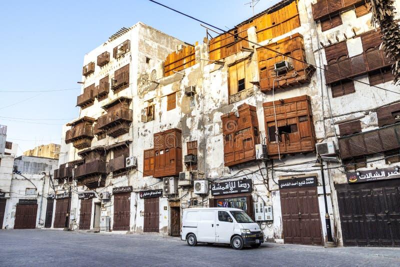 Saudyjczyka Jeddah Luty 1 2019 Stary miasto w Jeddah Starym mieście w Jeddah Arabia Saudyjska znać jako Dziejowy Jeddah Uliczny w obrazy royalty free