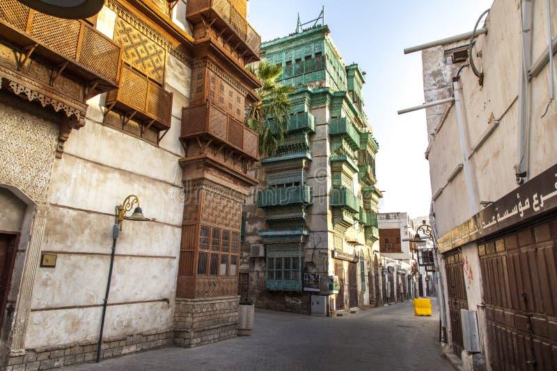 Saudyjczyka Jeddah Luty 1 2019 Stary miasto w Jeddah Starym mieście w Jeddah Arabia Saudyjska znać jako Dziejowy Jeddah Uliczny w fotografia stock