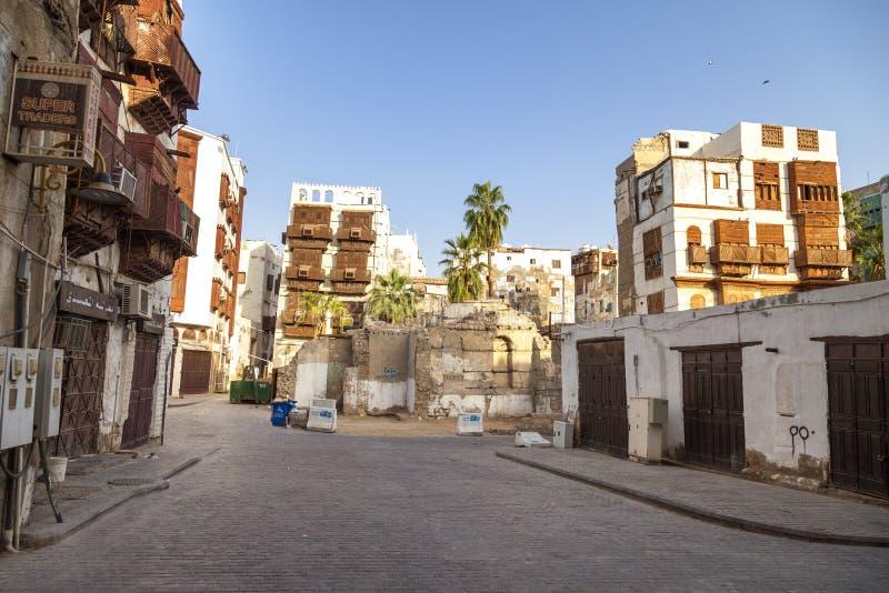 Saudyjczyka Jeddah Luty 1 2019 Stary miasto w Jeddah Starym mieście w Jeddah Arabia Saudyjska znać jako Dziejowy Jeddah Uliczny w zdjęcia royalty free