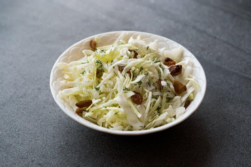 Sauerkraut σαλάτας άσπρων λάχανων με τις ξηρούς σταφίδες και τον άνηθο στοκ εικόνες