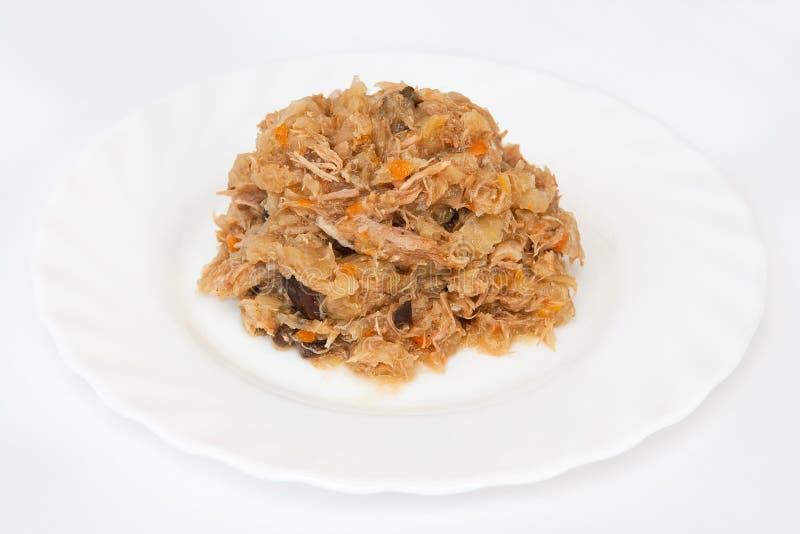 Sauerkraut Stewed com carne imagem de stock royalty free