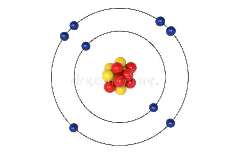 Sauerstoff-Atom Bohr-Modell mit Proton, Neutron und Elektron vektor abbildung