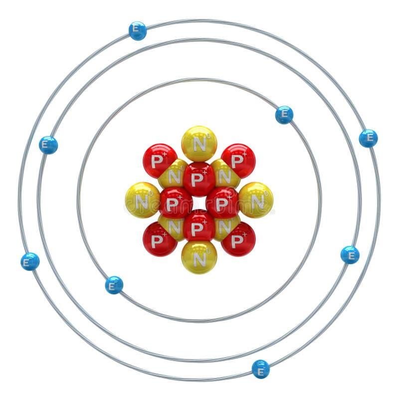 Sauerstoffatom auf weißem Hintergrund lizenzfreie abbildung