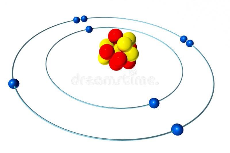 Sauerstoffatom mit Proton, Neutron und Elektron, Modell 3D Bohr lizenzfreie abbildung