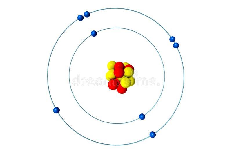 Sauerstoffatom mit Proton, Neutron und Elektron, Modellillustration 3D Bohr lizenzfreie abbildung