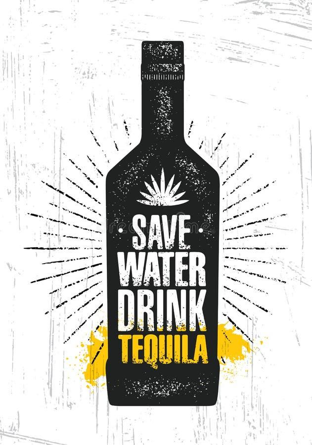 Sauf l'eau Tequila de boissons Concept créatif de signe de vecteur d'agave de métier d'artisan local d'alcool Bannière faite main illustration stock