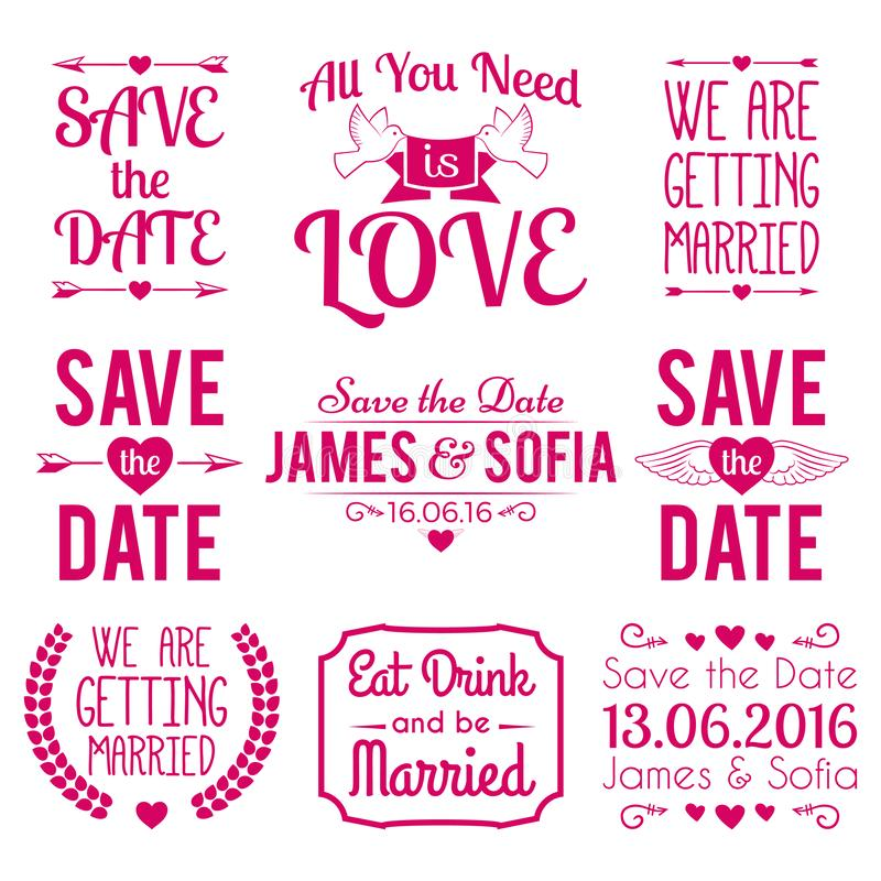 Sauf l'ensemble typographique d'amour d'invitation de conception de label d'insigne de mariage de date photo stock