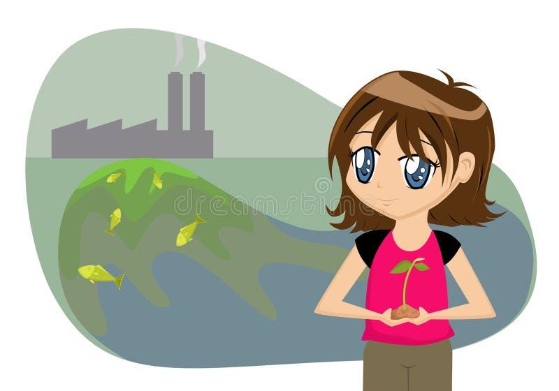 Sauf la fille de dessin animé de la terre illustration libre de droits