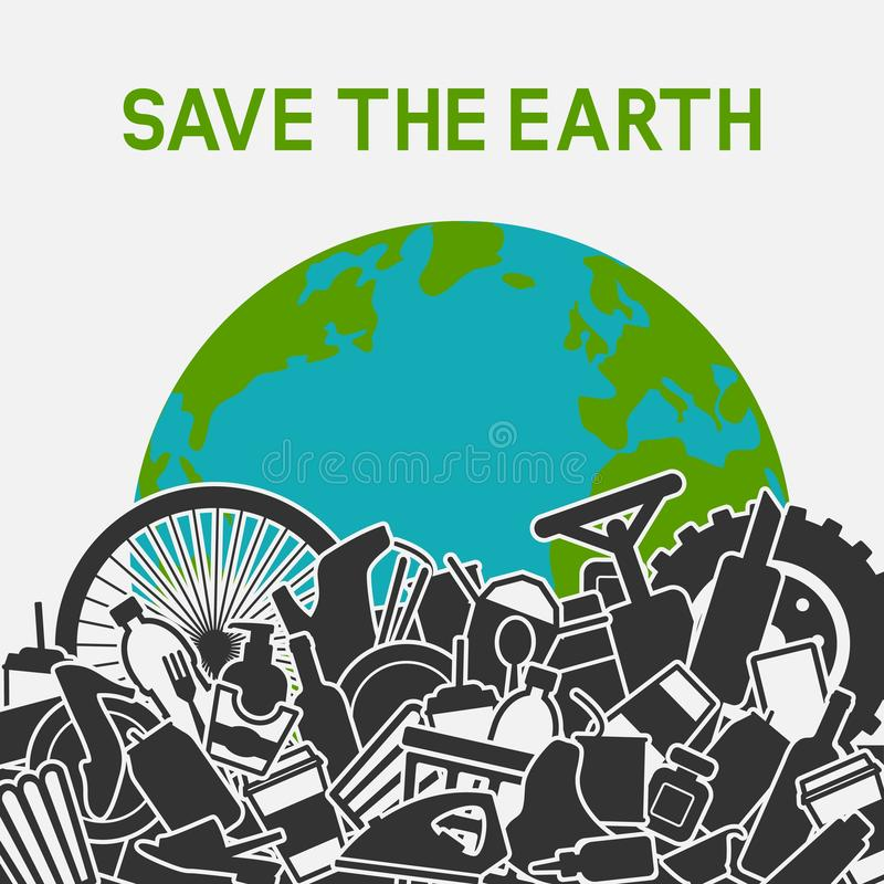 Sauf le concept de plan?te D?chets de la plan?te avec les d?chets humains La terre de planète dans la décharge de déchets illustration de vecteur