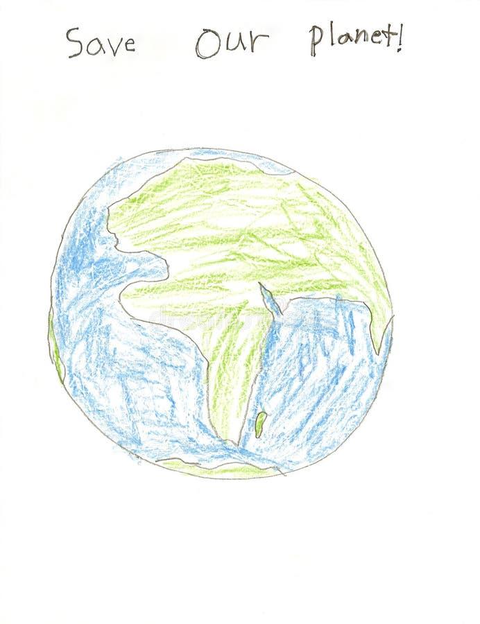 Sauf le retrait de notre enfant de planète illustration stock