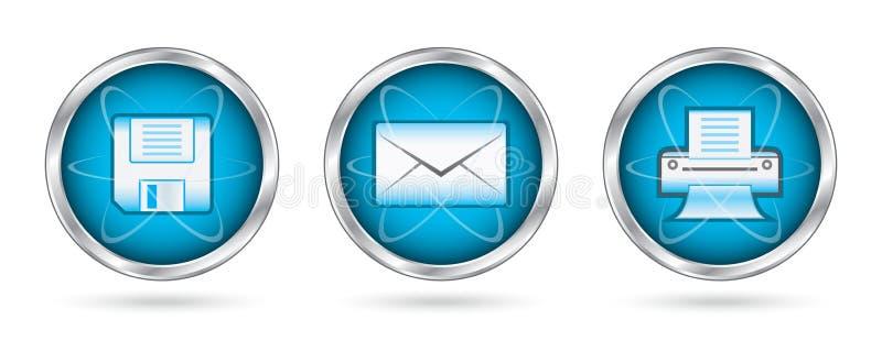 Sauf les boutons réglés de graphisme d'impression de courrier illustration de vecteur