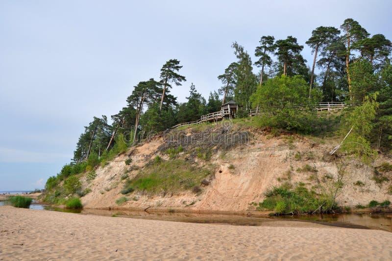 Saulkrasti Östersjön, Lettland arkivbild
