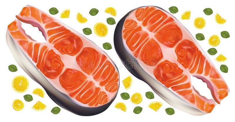 Saumon poisson steak cru au citron Poisson rouge, délicatesse Filet, steak de saumon frais Fruits de mer pour votre menu vecteur  illustration stock