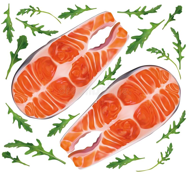 Saumon poisson steak cru au rucola vert Poisson rouge, délicatesse Filet, steak de saumon frais Fruits de mer pour votre menu illustration libre de droits