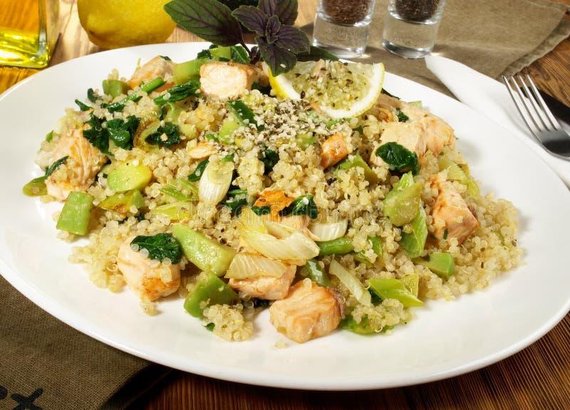 Saumons avec le quinoa et les graines Omega3 images libres de droits