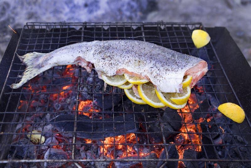 Saumons roses sur le gril poissons sur le gril avec le feu et le charbon citron mariné par poissons cuit sur le feu images libres de droits