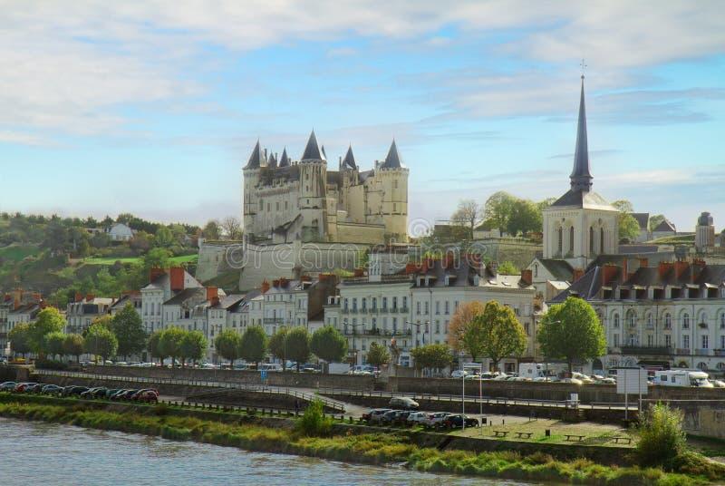Saumur, Pays de la Loire,法国 免版税库存图片