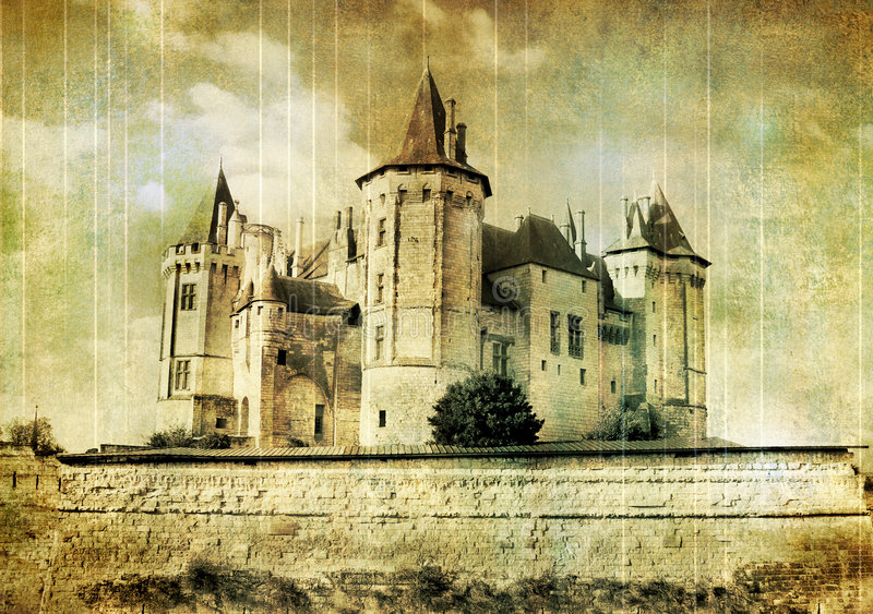 Download Saumur castle stock image. Image of painting, pictorial - 7461681
