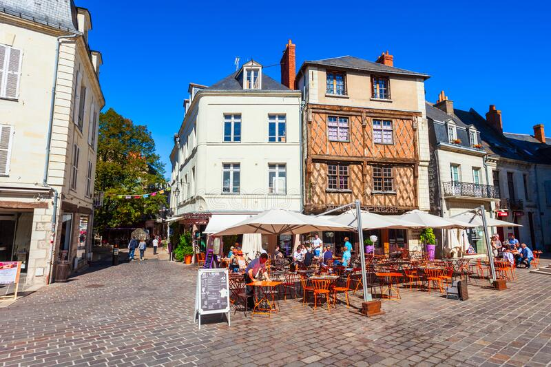 Street cafe in Saumur, France royalty free stock images