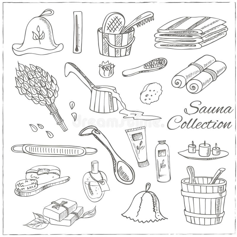 Sauna akcesoriów doodle set nakreślenie royalty ilustracja