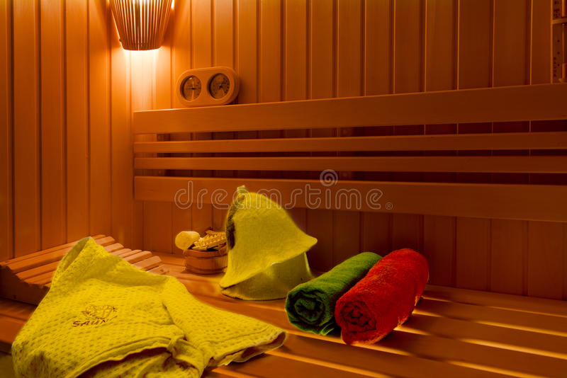Sauna. Bathroom Accessories: bucket, spoon stock photos