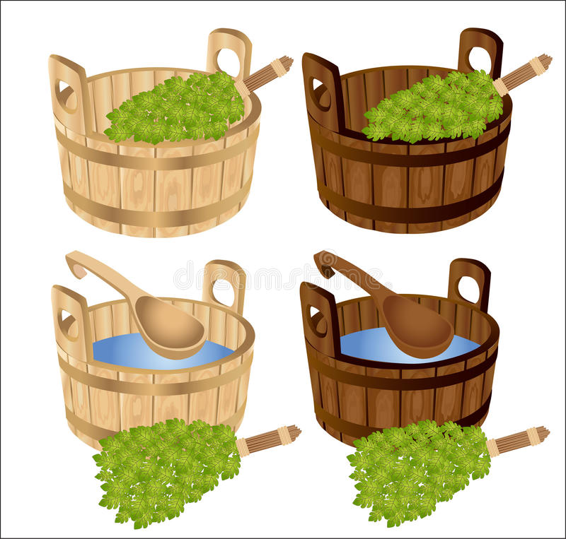 Download Sauna Baths House Birch Twigs Tub Stock Vector - Image: 18359154