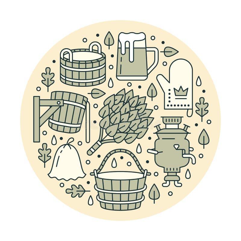 Sauna, de bannerillustratie van de stoombadruimte met vlakke lijnpictogrammen De berk van het badkamersmateriaal, eiken bezem, em vector illustratie