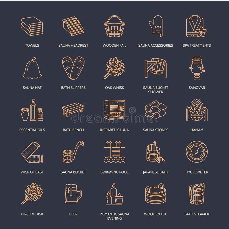 Sauna, de pictogrammen van de stoombadlijn De berk van het badkamersmateriaal, eiken berk, emmer Hammam, Japanner, Finnen, infrar stock illustratie