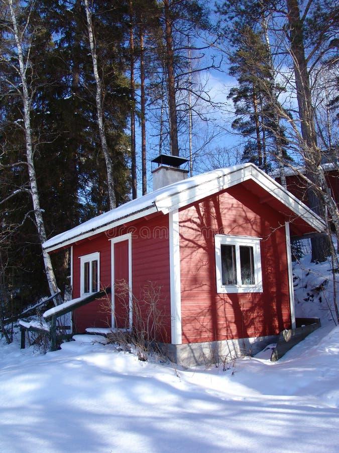 Sauna in de winter stock afbeeldingen