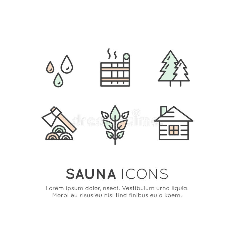 Sauna e emblemas quentes da vila da casa do vapor ilustração royalty free