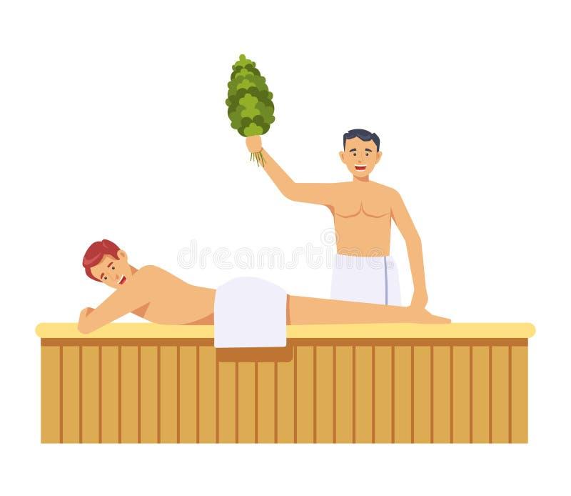 Sauna en kuuroordprocedures door vrouwen geïsoleerde vector stock illustratie
