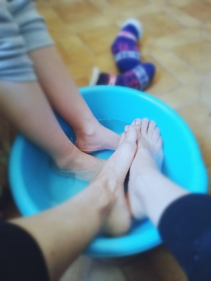 Sauna feet homemade stock image