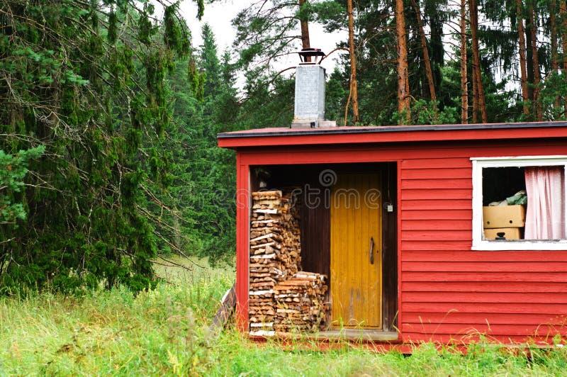 Sauna finlandais avec du bois photo libre de droits