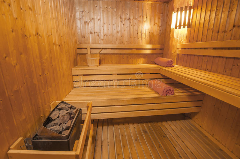 Sauna in a health spa. Interior detail of a sauna in luxury health spa beauty center royalty free stock photography
