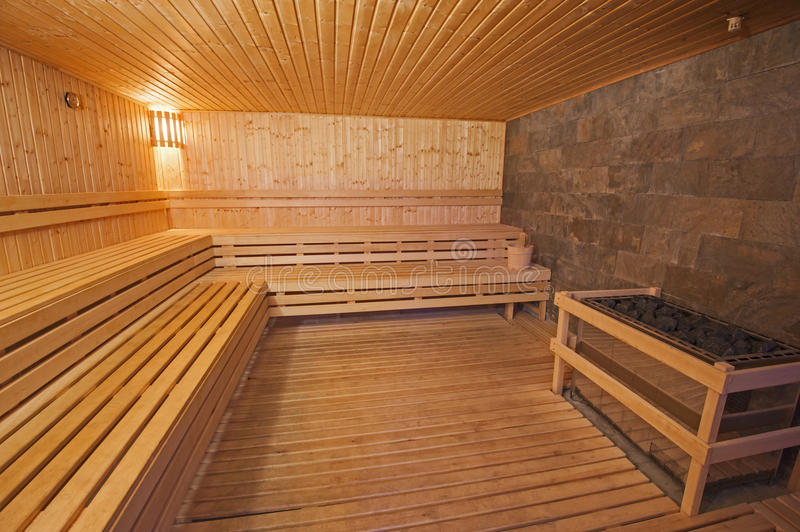 Sauna in a health spa. Interior detail of a sauna in luxury health spa beauty center royalty free stock images