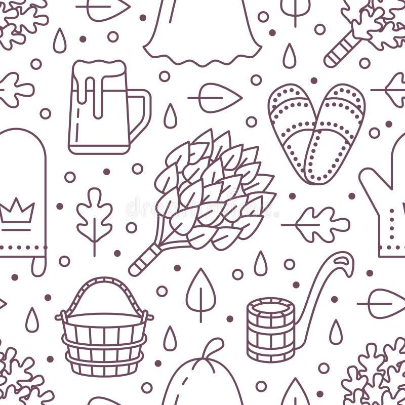 Sauna, het naadloze patroon van de stoombadruimte met lijnpictogrammen De berk van het badkamersmateriaal, eiken bezem, emmer, bi stock illustratie