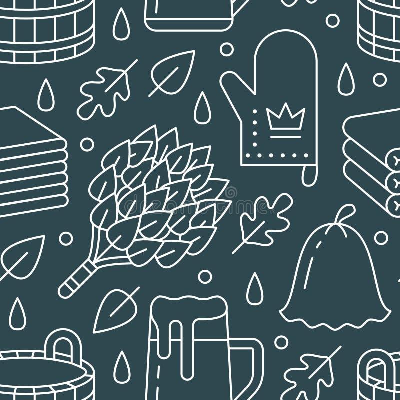 Sauna, het naadloze patroon van de stoombadruimte met lijnpictogrammen De berk van het badkamersmateriaal, eiken bezem, emmer, bi royalty-vrije illustratie
