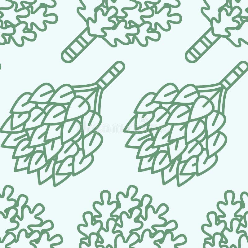Sauna, het naadloze patroon van de stoombadruimte met lijnpictogrammen De berk van het badkamersmateriaal, eiken bezems Finse, Ru stock illustratie