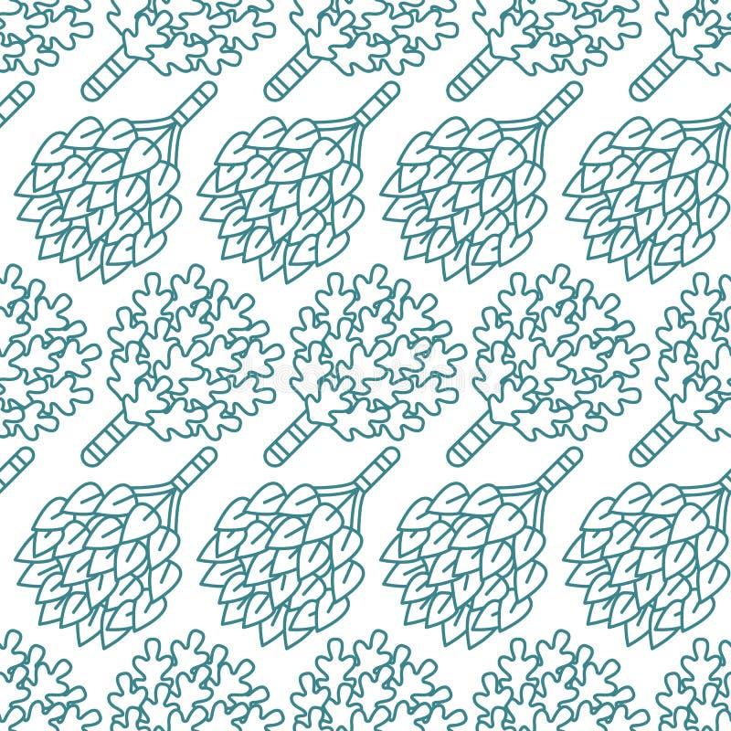 Sauna, het naadloze patroon van de stoombadruimte met lijnpictogrammen De berk van het badkamersmateriaal, eiken bezems Finse, Ru royalty-vrije illustratie