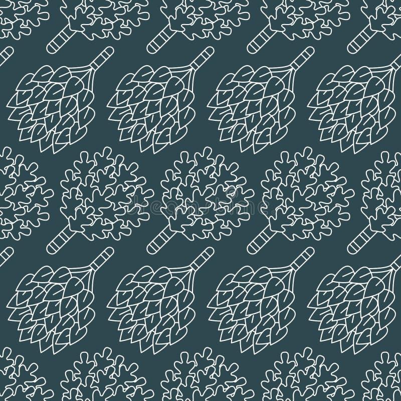 Sauna, het naadloze patroon van de stoombadruimte met lijnpictogrammen De berk van het badkamersmateriaal, eiken bezems Finse, Ru vector illustratie